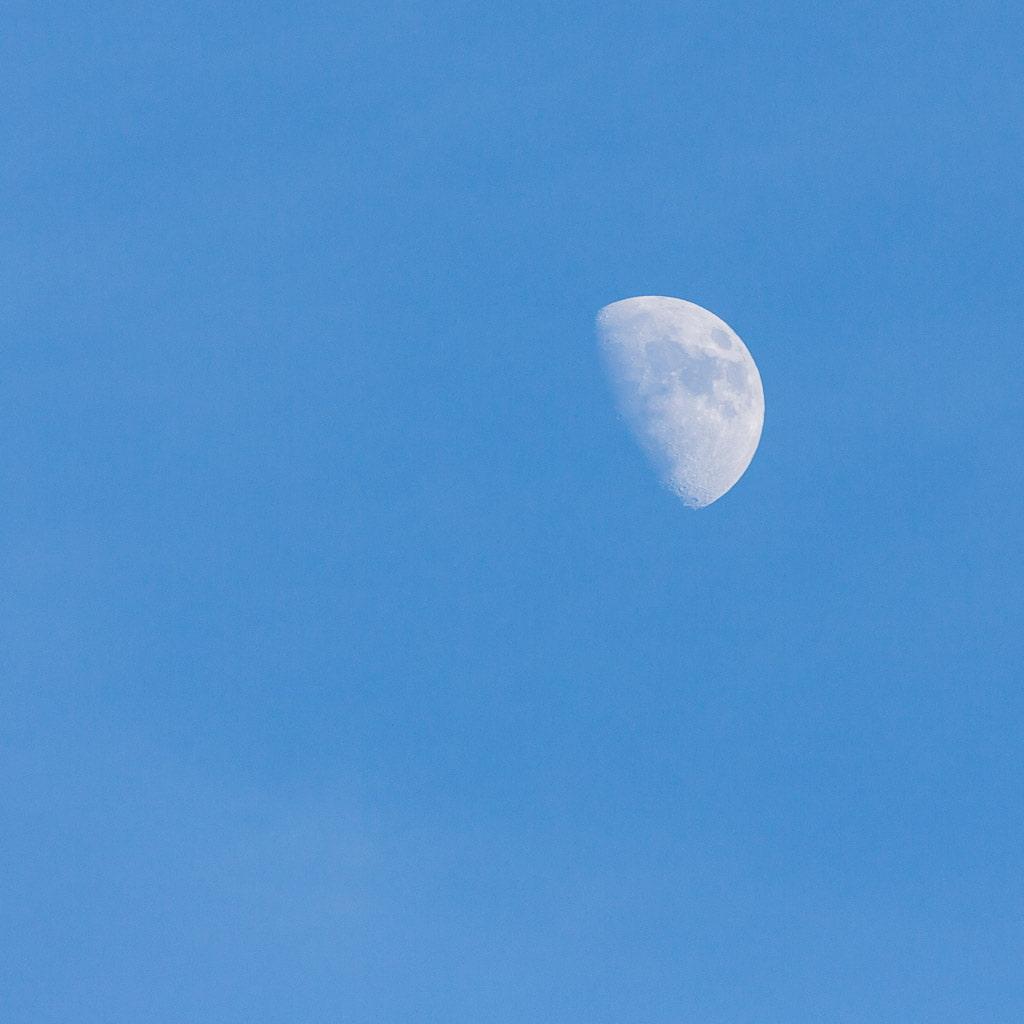 moon against a blue sky