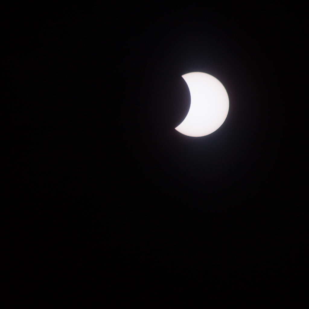 sun partially eclipsed by the moon