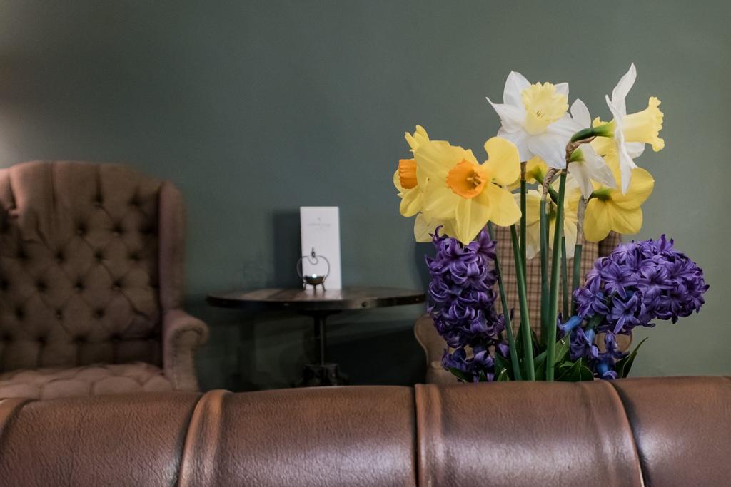 flowers behind a sofa