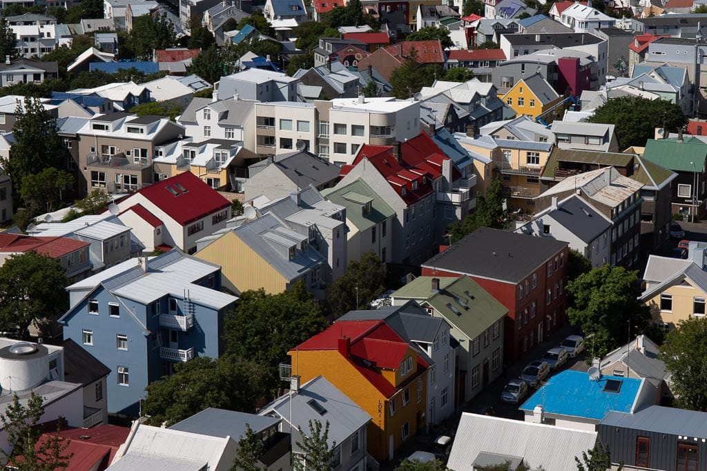 rows of coloured houses