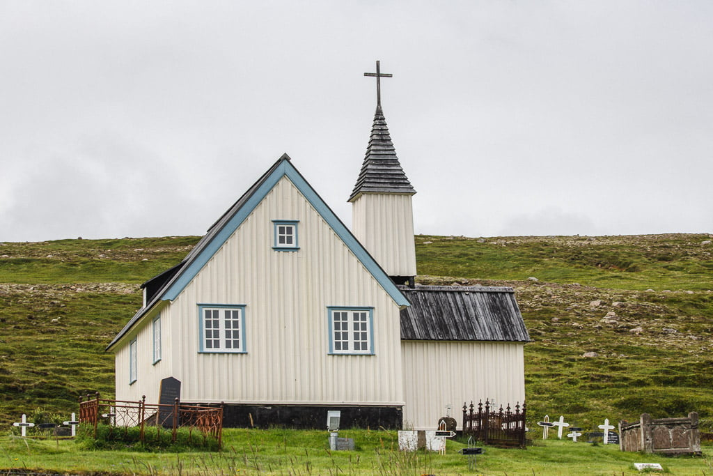 Blue and white church the oldest church in east Iceland