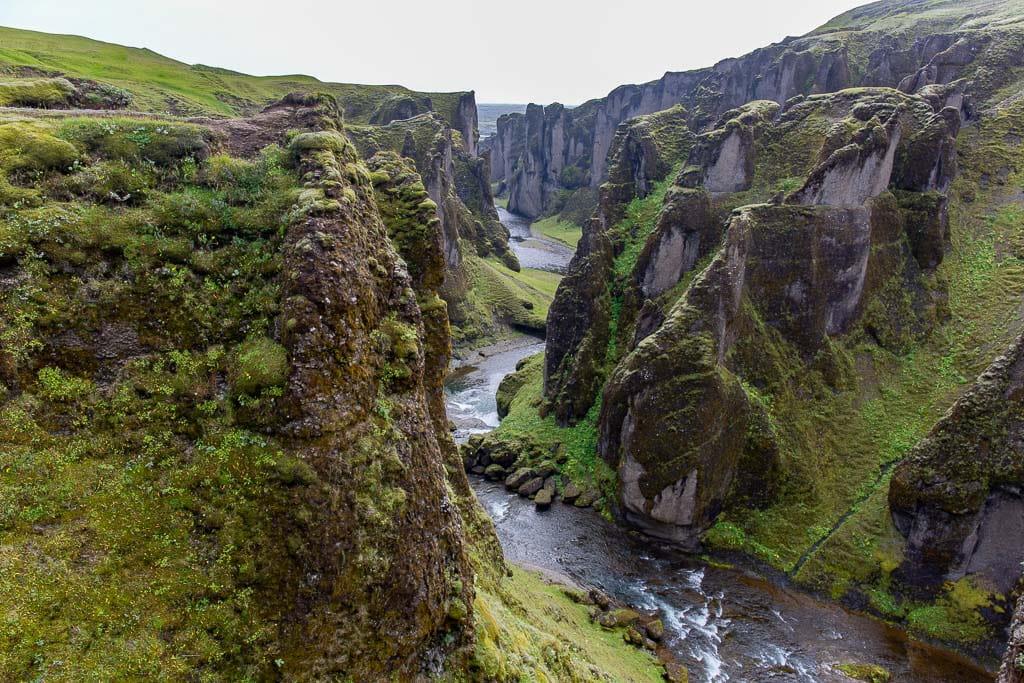 Fjadrargljufur canyon from the viewing platforms